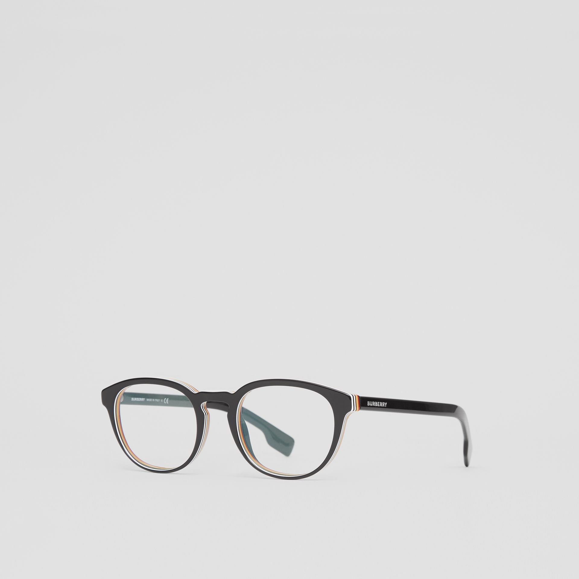 Icon Stripe Detail Round Optical Frames in Black - Men | Burberry - gallery image 4