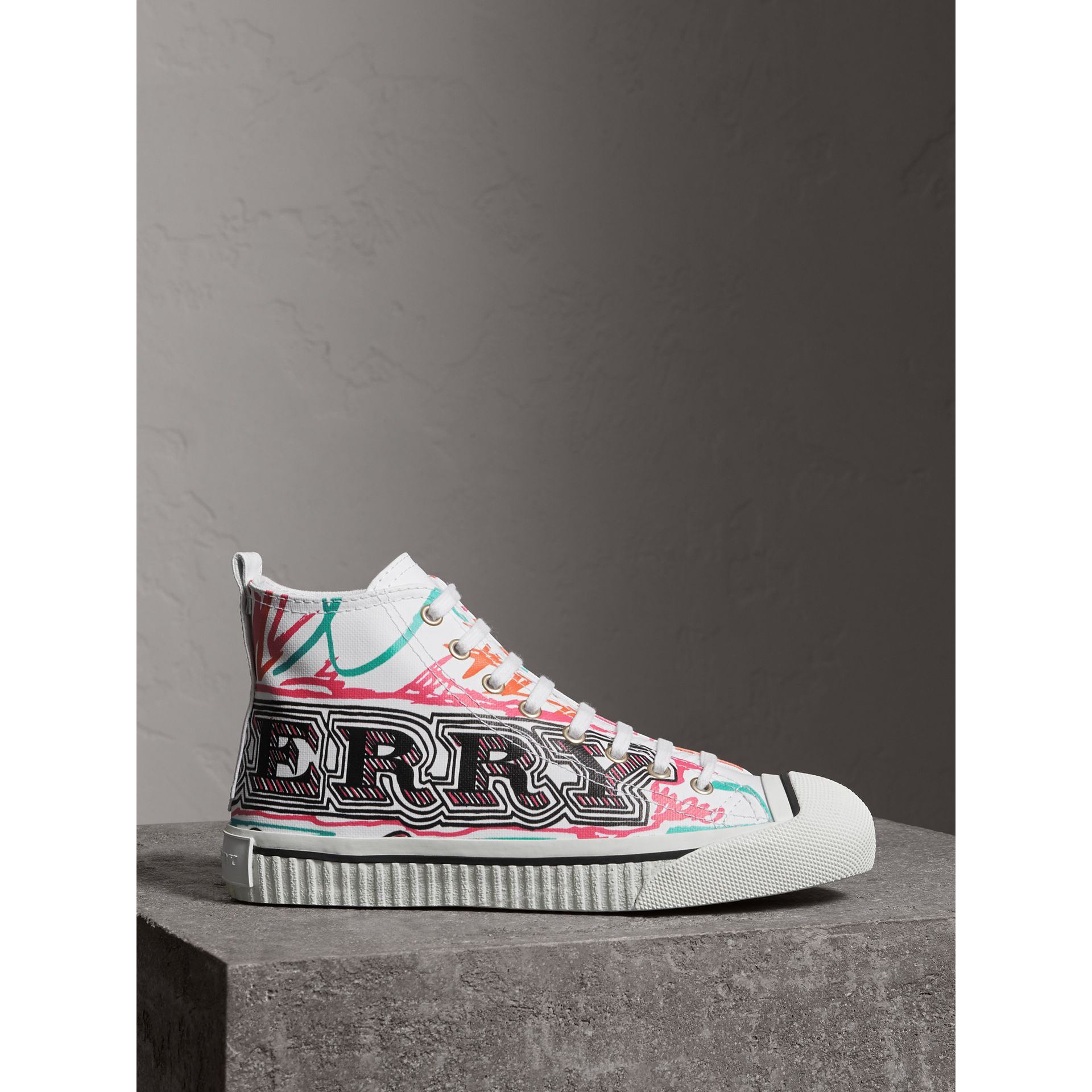 Doodle Print Coated Cotton High-top Sneakers in Optic White - Women | Burberry - gallery image 4