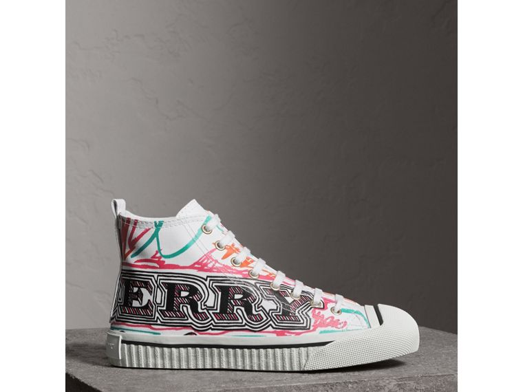 Doodle Print Coated Cotton High-top Sneakers in Optic White - Women | Burberry - cell image 4