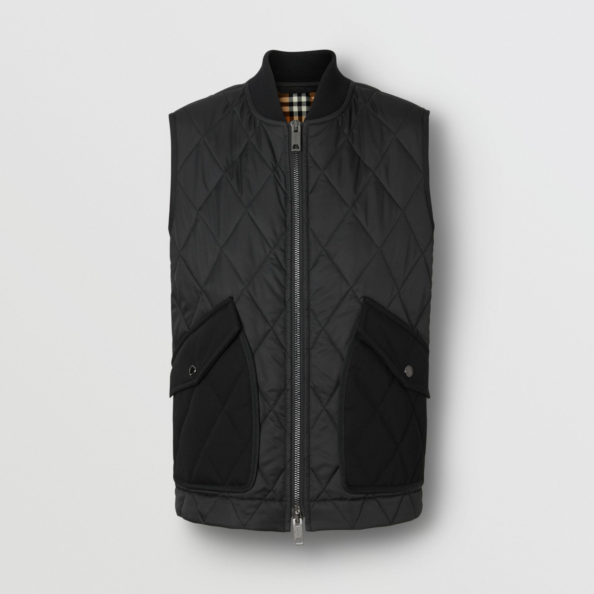 Monogram Motif Diamond Quilted Gilet in Black - Women | Burberry United Kingdom - gallery image 3