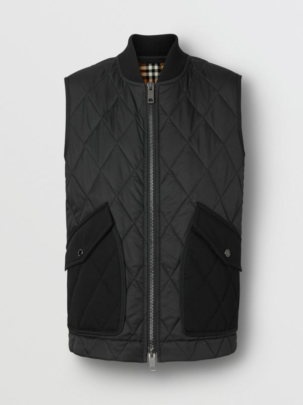 Monogram Motif Diamond Quilted Gilet in Black - Women | Burberry United Kingdom - cell image 3