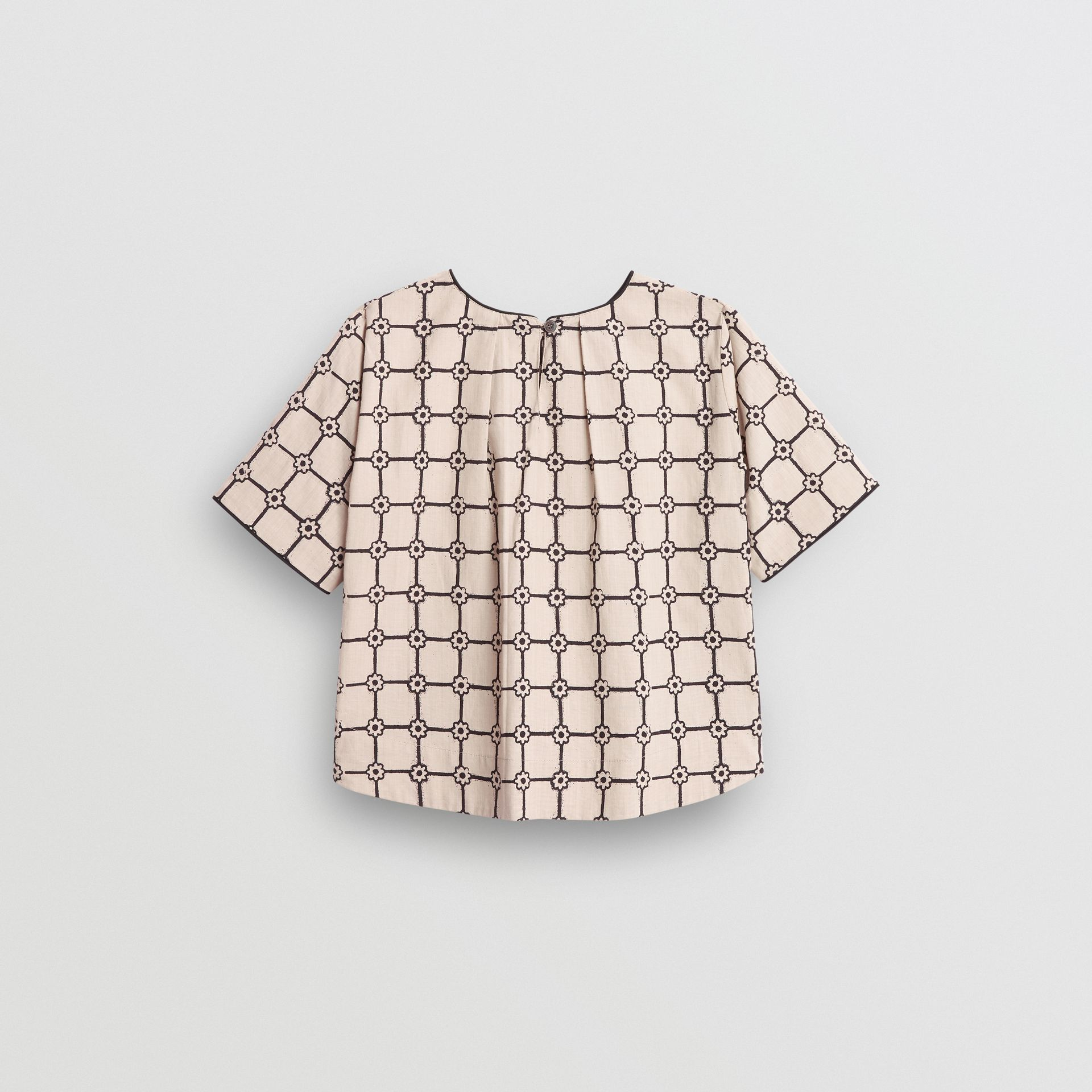Piping Detail Flower Print Cotton Top in Stone - Children | Burberry - gallery image 3