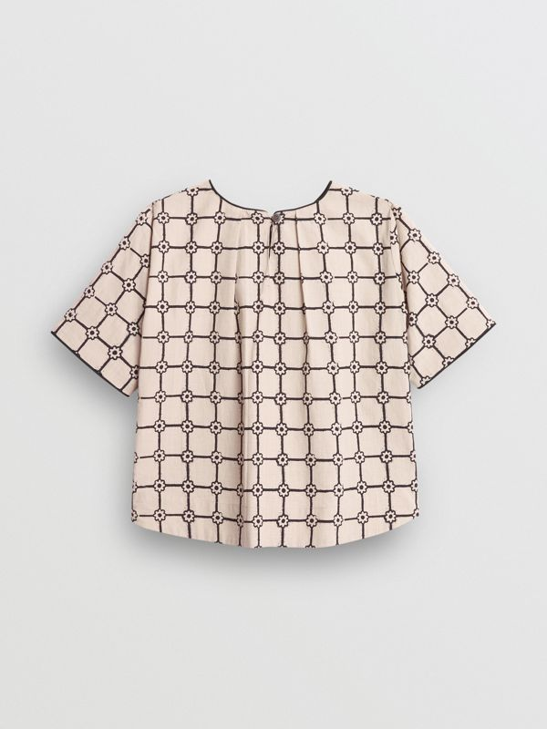 Piping Detail Flower Print Cotton Top in Stone - Children | Burberry - cell image 3