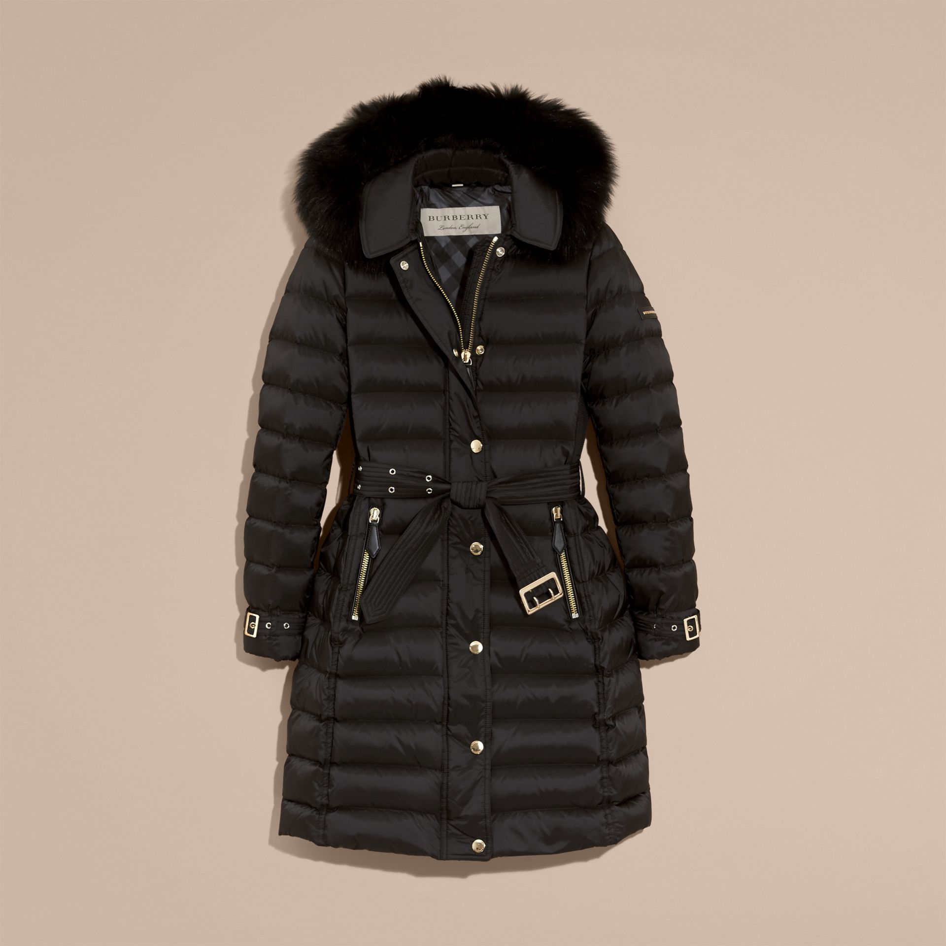 Down-filled Coat with Fox Fur Trim Hood in Black - Women | Burberry - gallery image 4