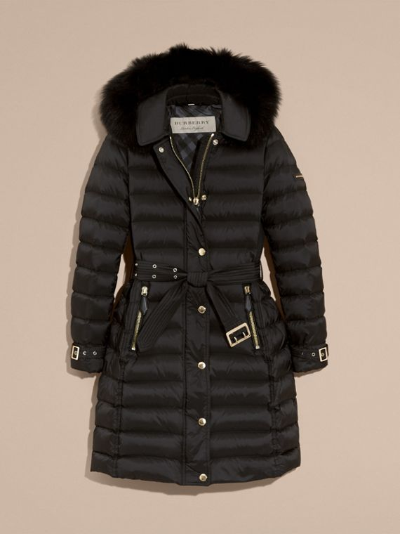 Down-filled Coat with Fox Fur Trim Hood in Black - Women | Burberry - cell image 3