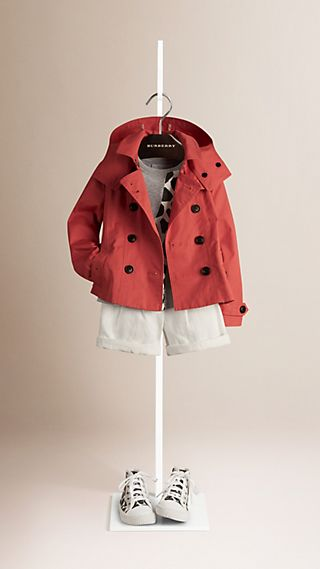 Cotton Twill Trench Coat with Detachable Hood