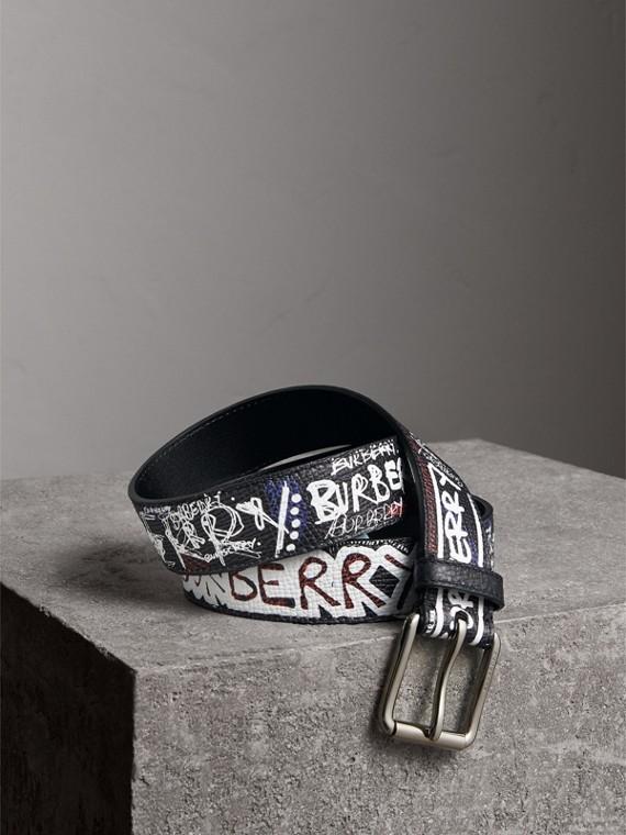 Doodle Print Leather Belt in Black