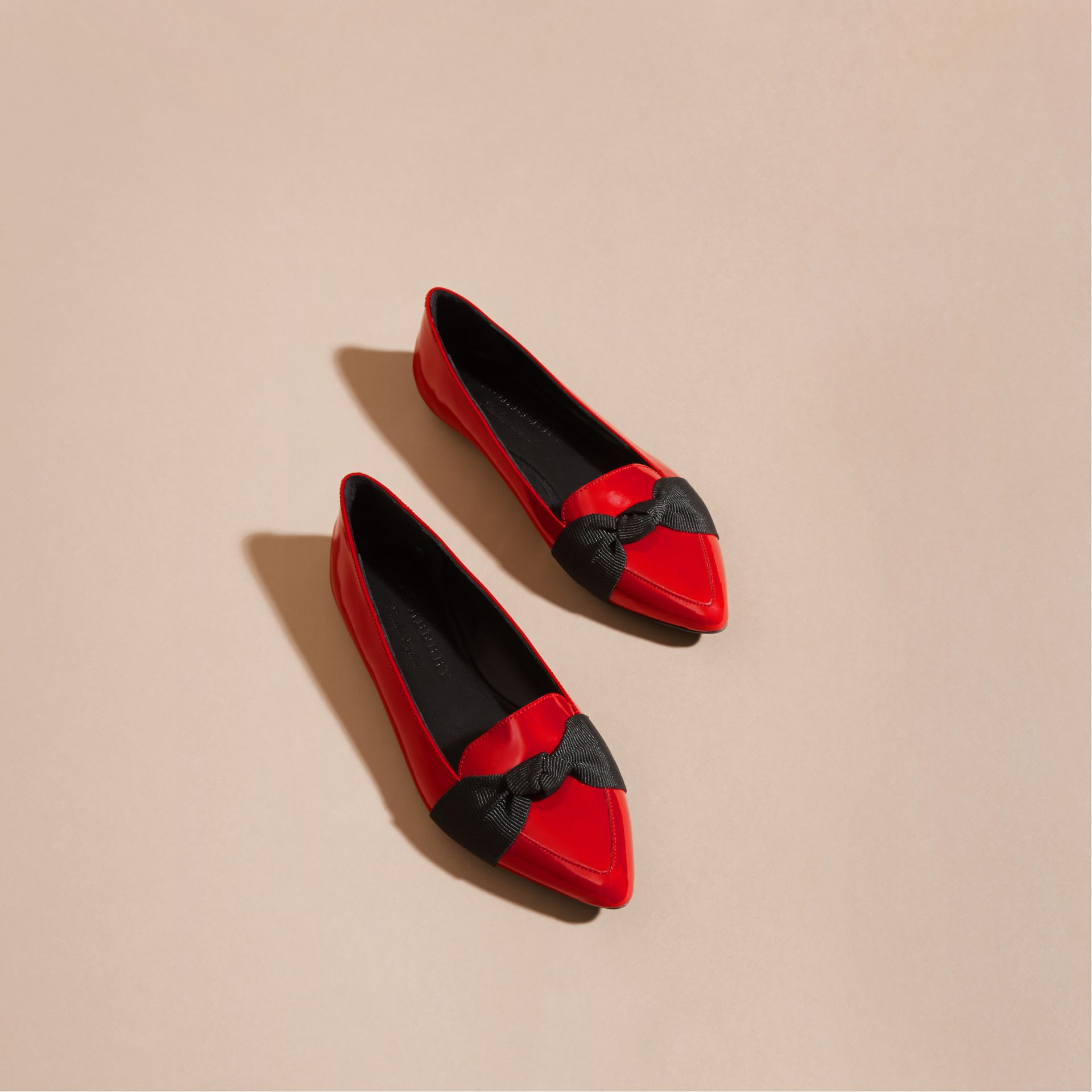 Peony red Patent Leather Loafers with Grosgrain Bow Peony Red - gallery image 3