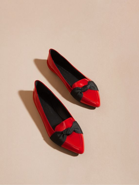 Peony red Patent Leather Loafers with Grosgrain Bow Peony Red - cell image 2