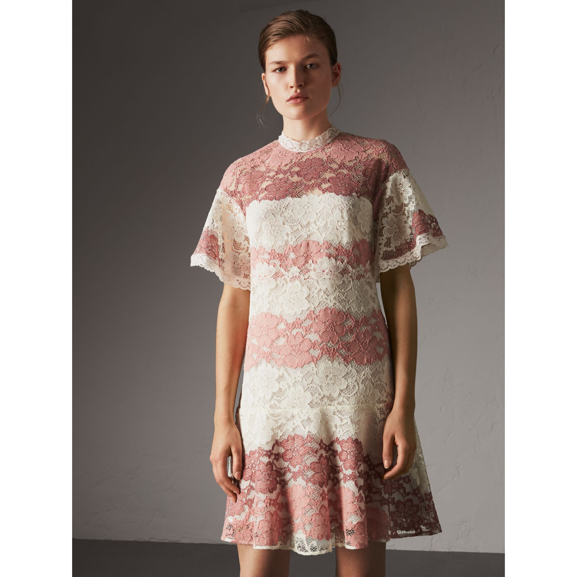 Floral Lace Dress with Flutter Sleeves in Dusty Pink - Women | Burberry - gallery image 5