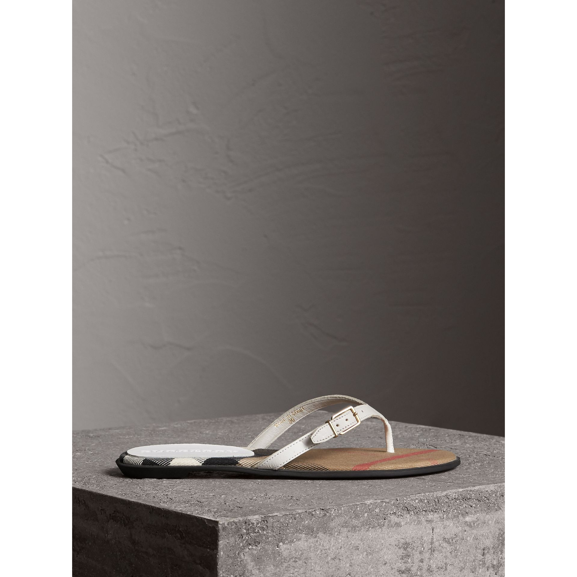 House Check and Leather Sandals in Optic White - Women | Burberry - gallery image 3