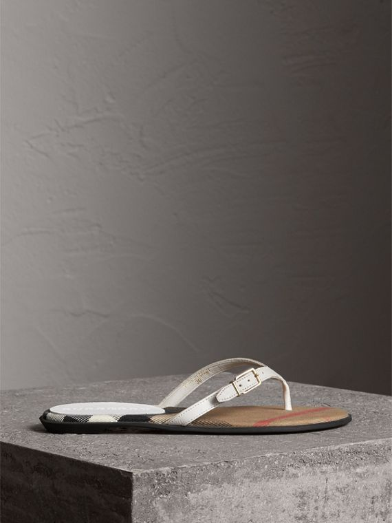 House Check and Leather Sandals in Optic White - Women | Burberry - cell image 3