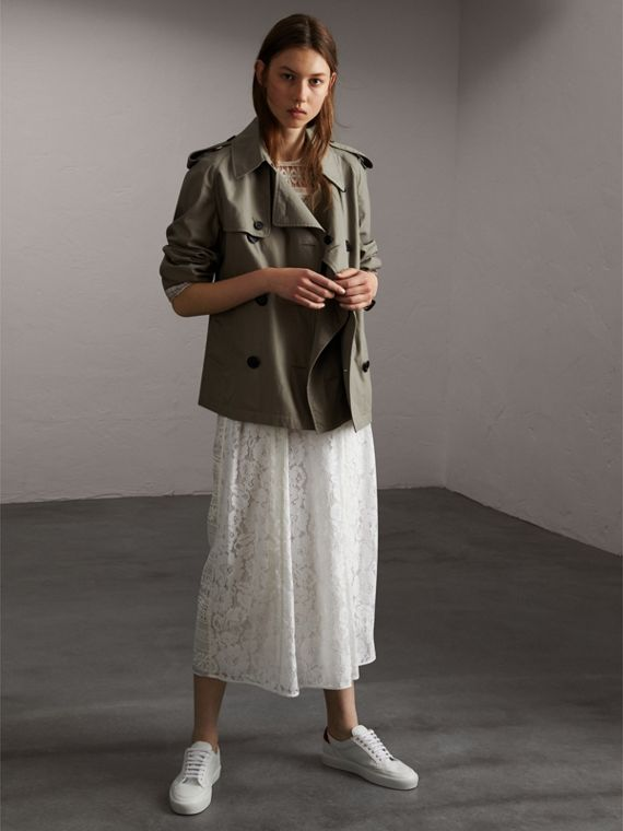 Unisex Tropical Gabardine Trench Jacket in Slate Green - Women | Burberry Singapore