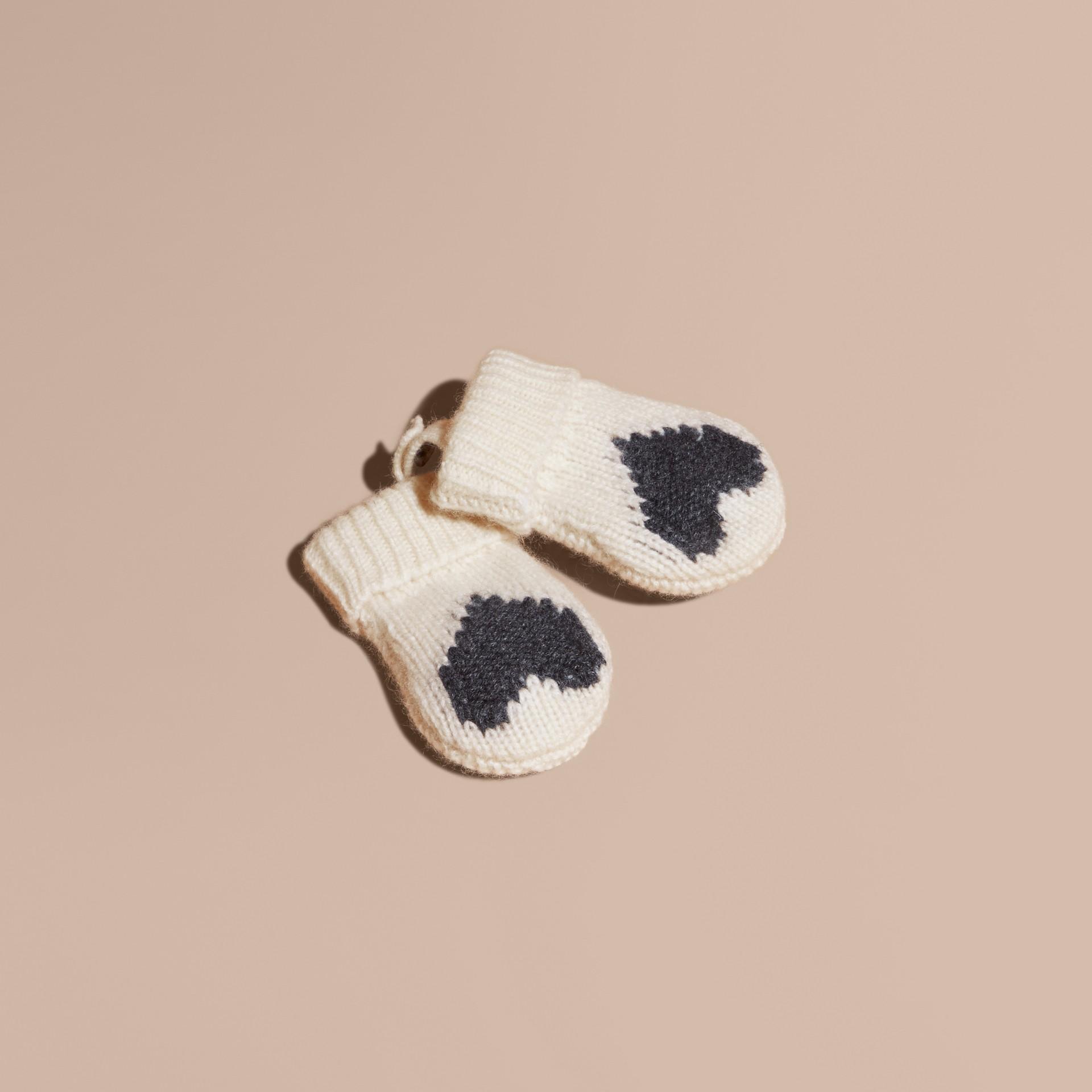 Anthracite Moufles en cachemire avec motif à cœur en intarsia Anthracite - photo de la galerie 1