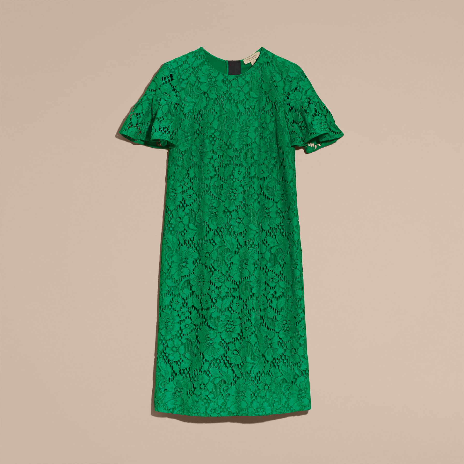 Macramé Lace Shift Dress with Ruffle Sleeves Kelly Green - gallery image 4