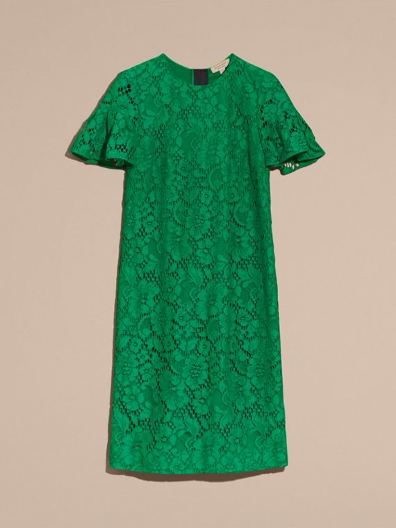 Macramé Lace Shift Dress with Ruffle Sleeves Kelly Green - cell image 3