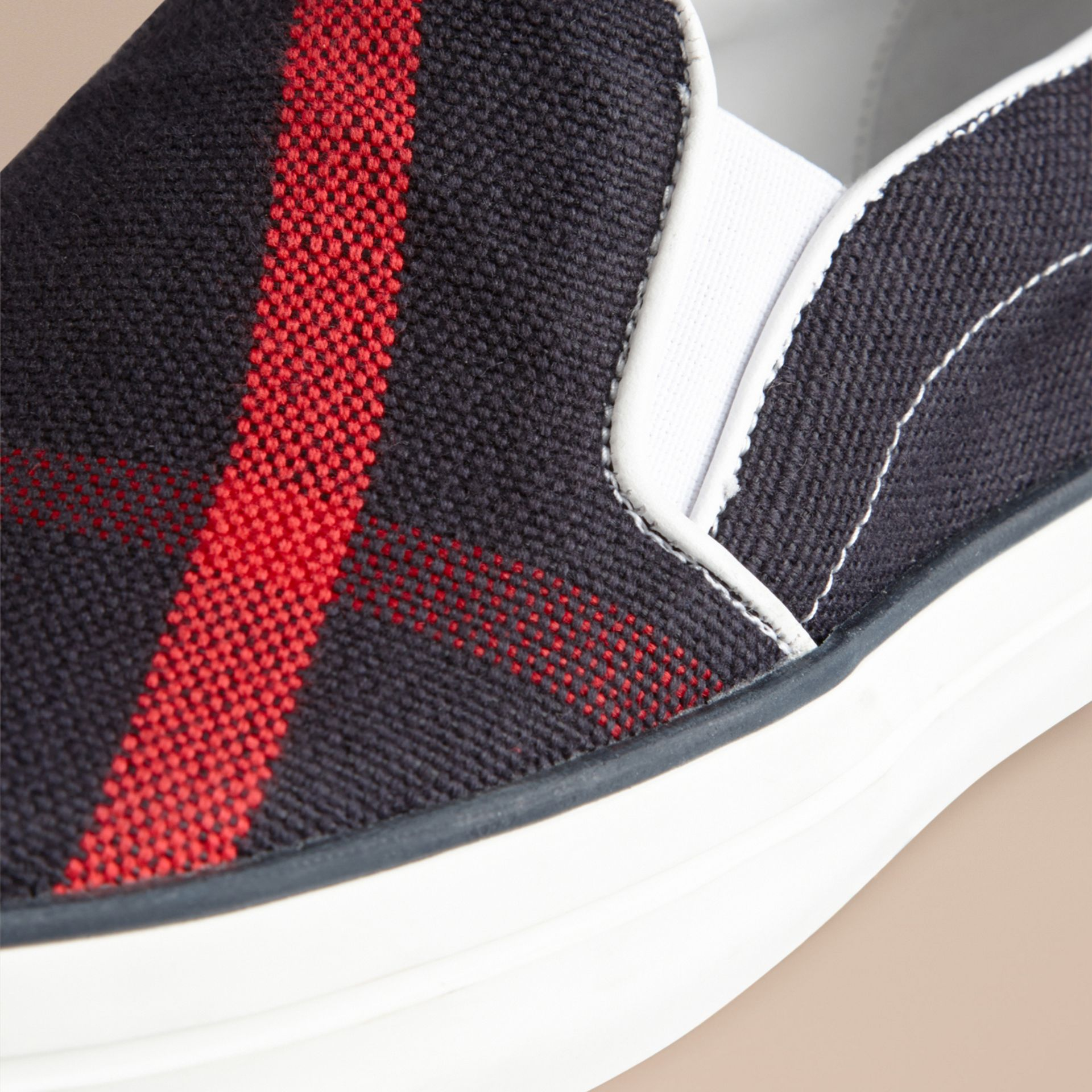 Navy check Navy Check Slip-On Trainers - gallery image 2