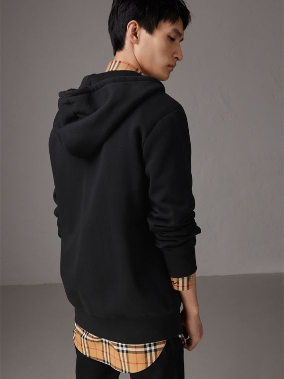 Embroidered Motif Oversize Hooded Cotton Jersey Top in Black - Men | Burberry - cell image 2