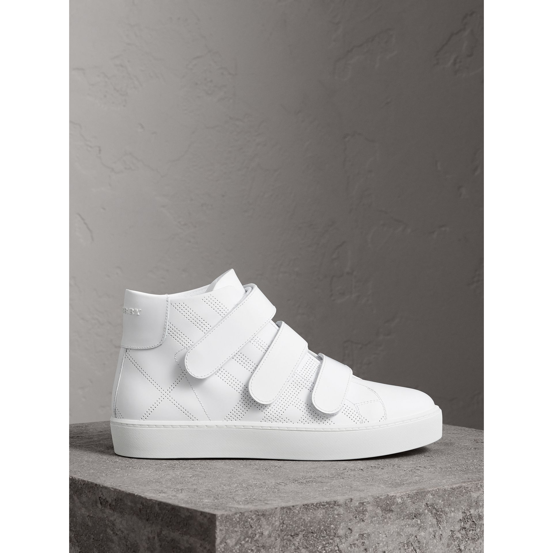 Perforated Check Leather High-top Trainers in Optic White - Women | Burberry United States - gallery image 5
