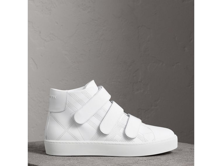 Perforated Check Leather High-top Trainers in Optic White - Women | Burberry United States - cell image 4
