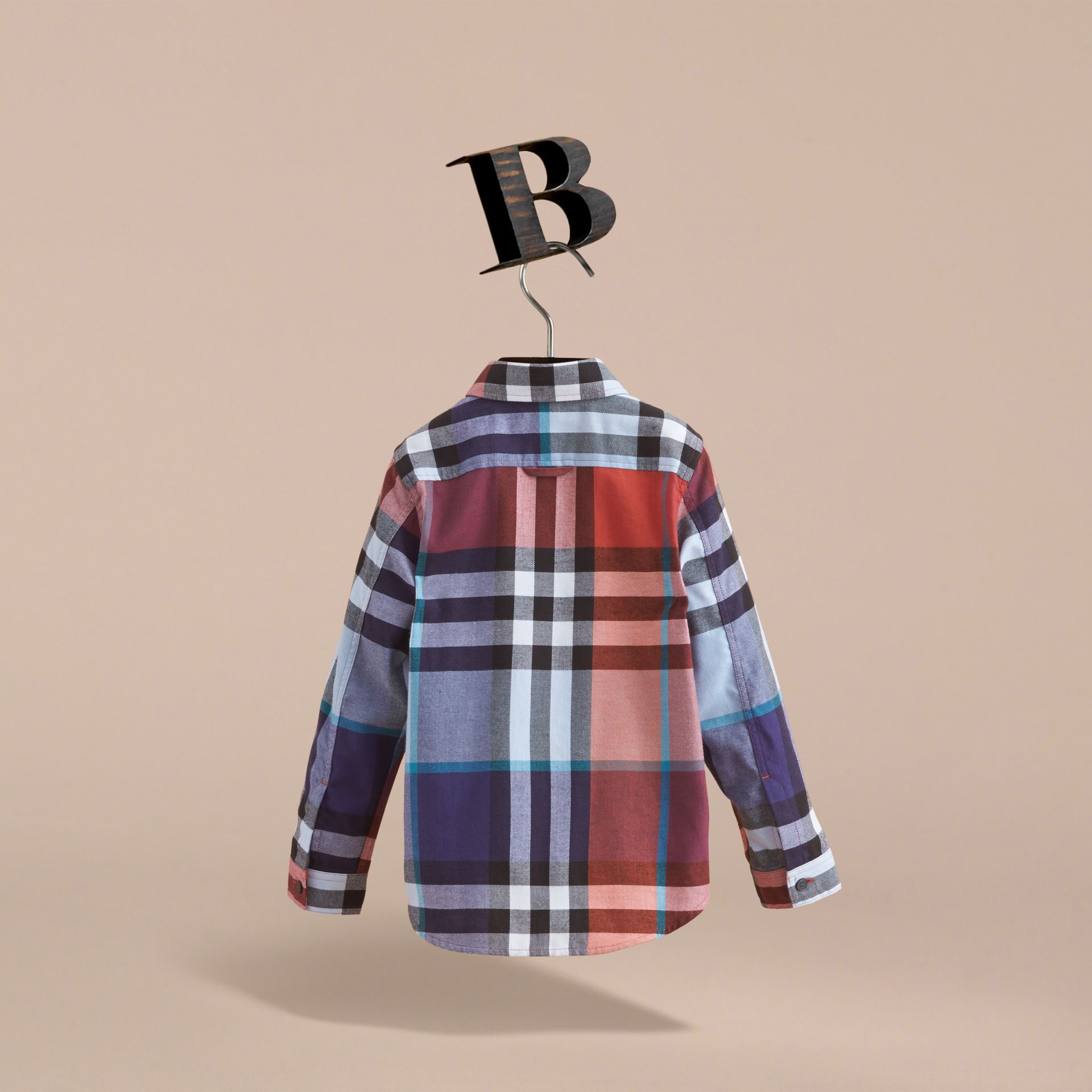 Pocket Detail Check Flannel Shirt in Orange Red - Boy | Burberry Australia - gallery image 4