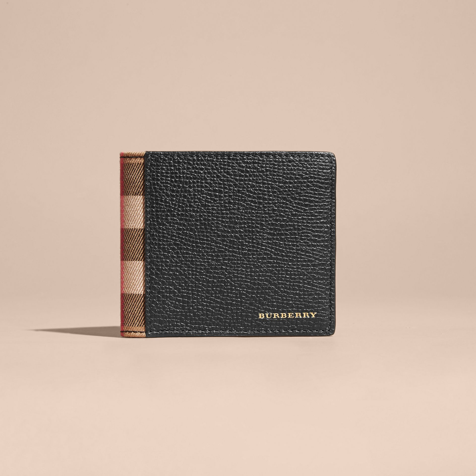 Leather and House Check International Bifold Wallet in Black | Burberry - gallery image 1