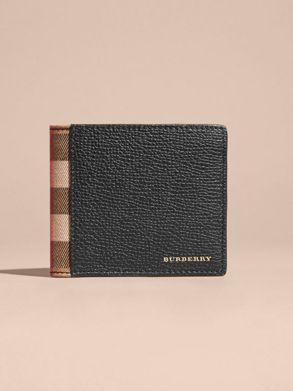 Leather and House Check International Bifold Wallet in Black | Burberry - cell image 1