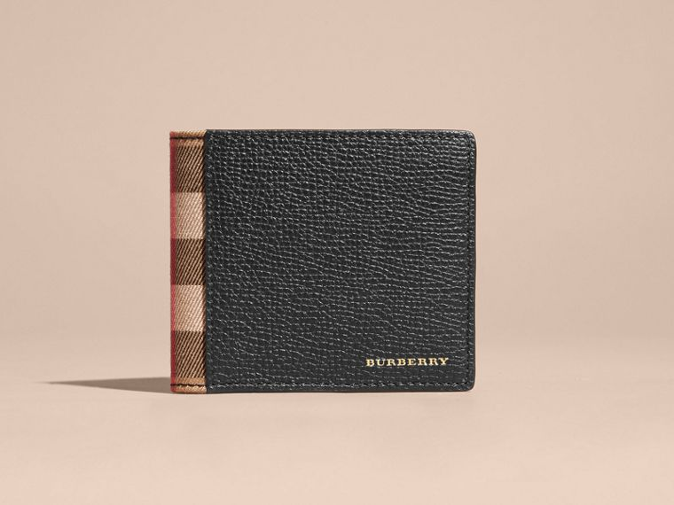 Cartera plegable para todas las divisas en piel y House Checks (Negro) | Burberry - cell image 1