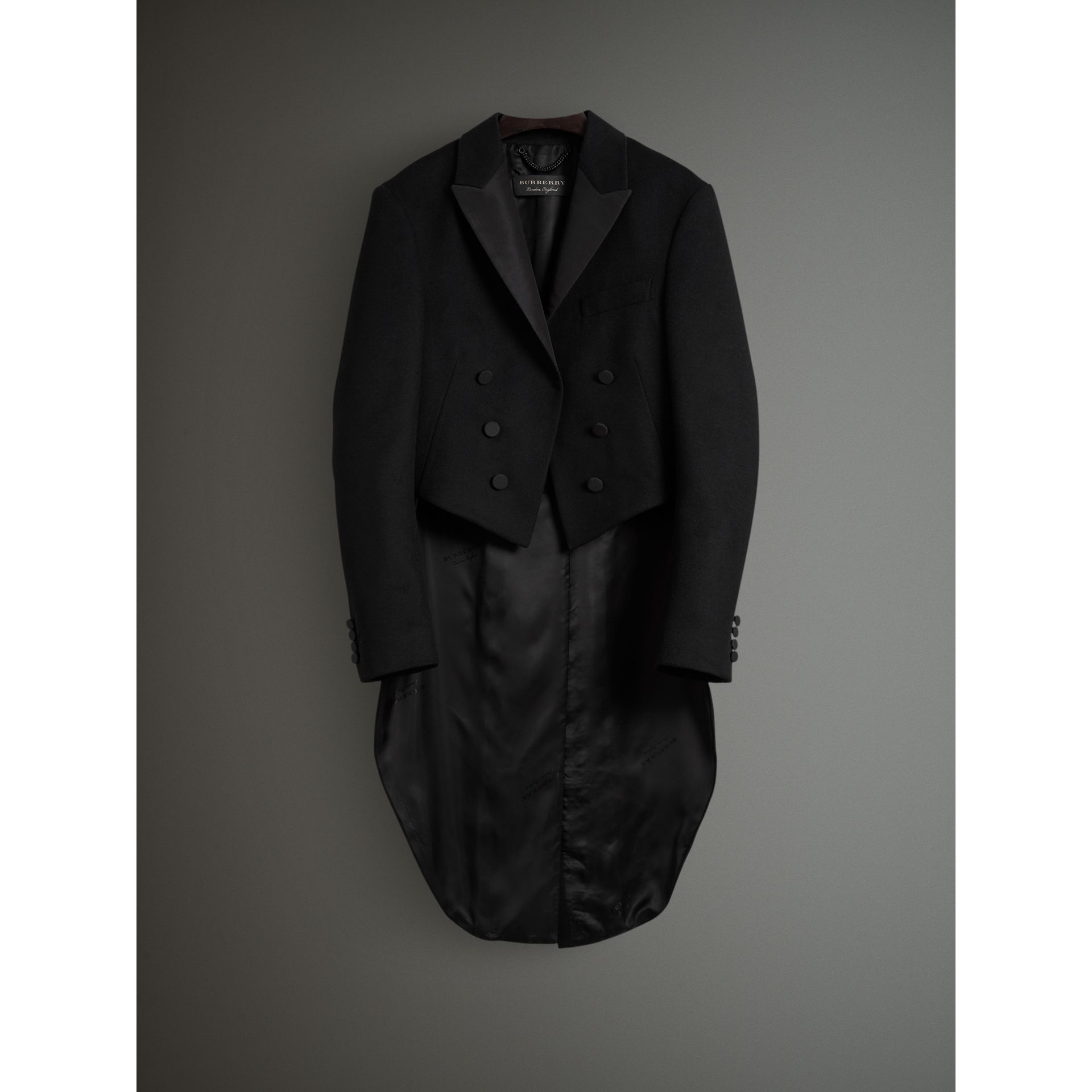 Felted Wool Tailcoat in Black - Men | Burberry - gallery image 4