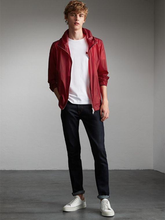 Hooded Super-lightweight Jacket in Crimson Pink - Men | Burberry Australia