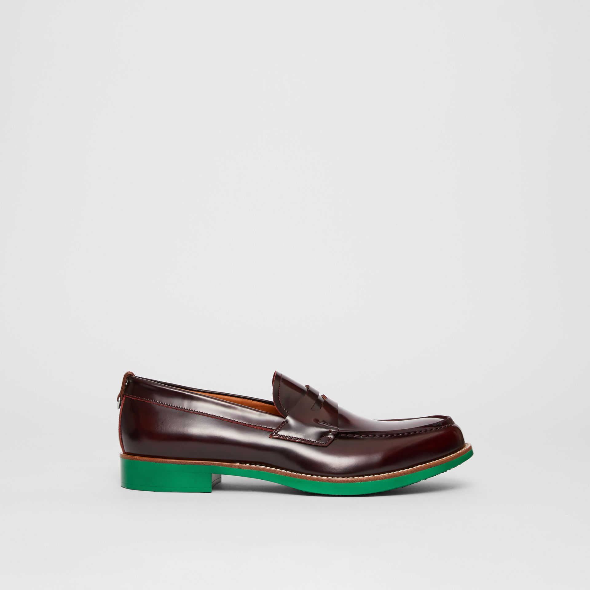 D-ring Detail Contrast Sole Leather Loafers in Bordeaux/green - Men | Burberry - gallery image 5