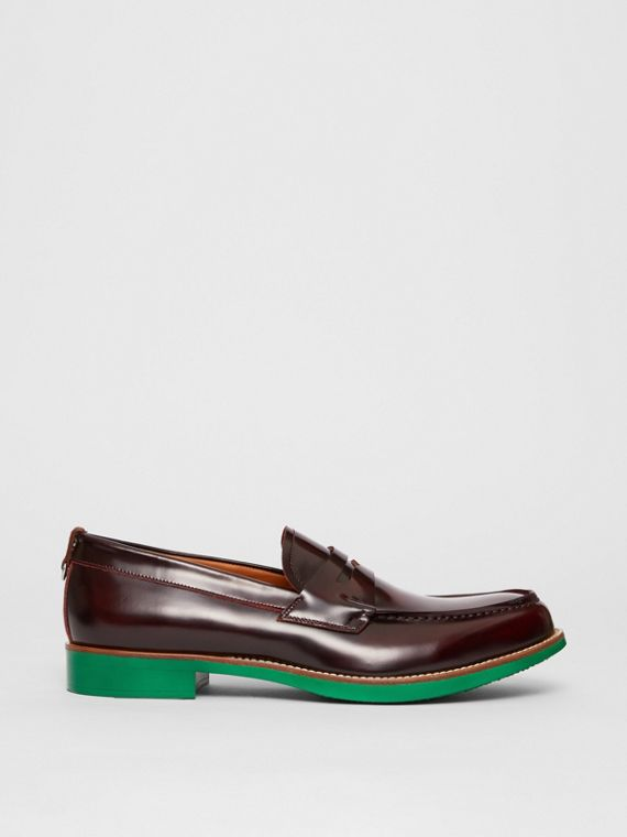 D-ring Detail Contrast Sole Leather Loafers in Bordeaux/green