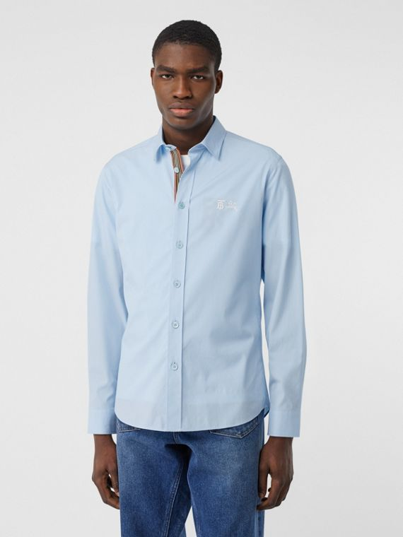 Embroidered Motifs Stretch Cotton Poplin Shirt in Pale Blue
