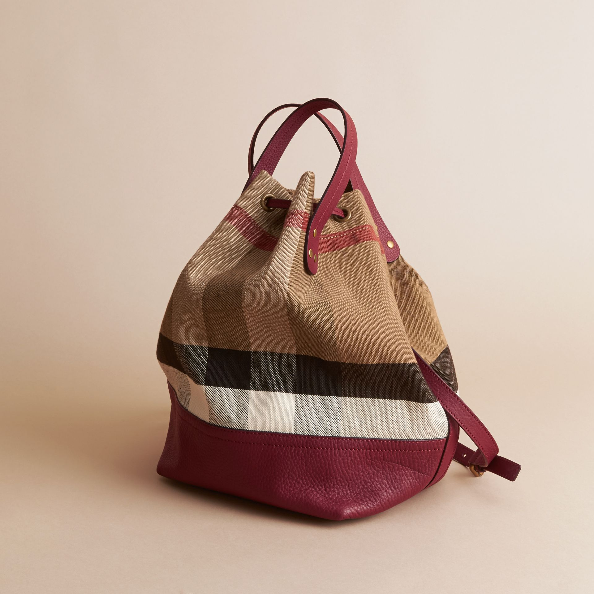 Medium Canvas Check and Leather Bucket Bag in Burgundy Red - Women | Burberry - gallery image 5