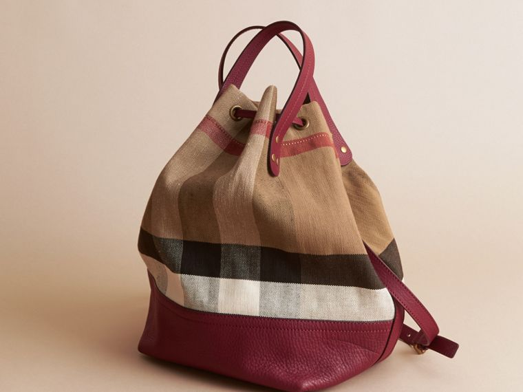 Medium Canvas Check and Leather Bucket Bag in Burgundy Red - Women | Burberry - cell image 4