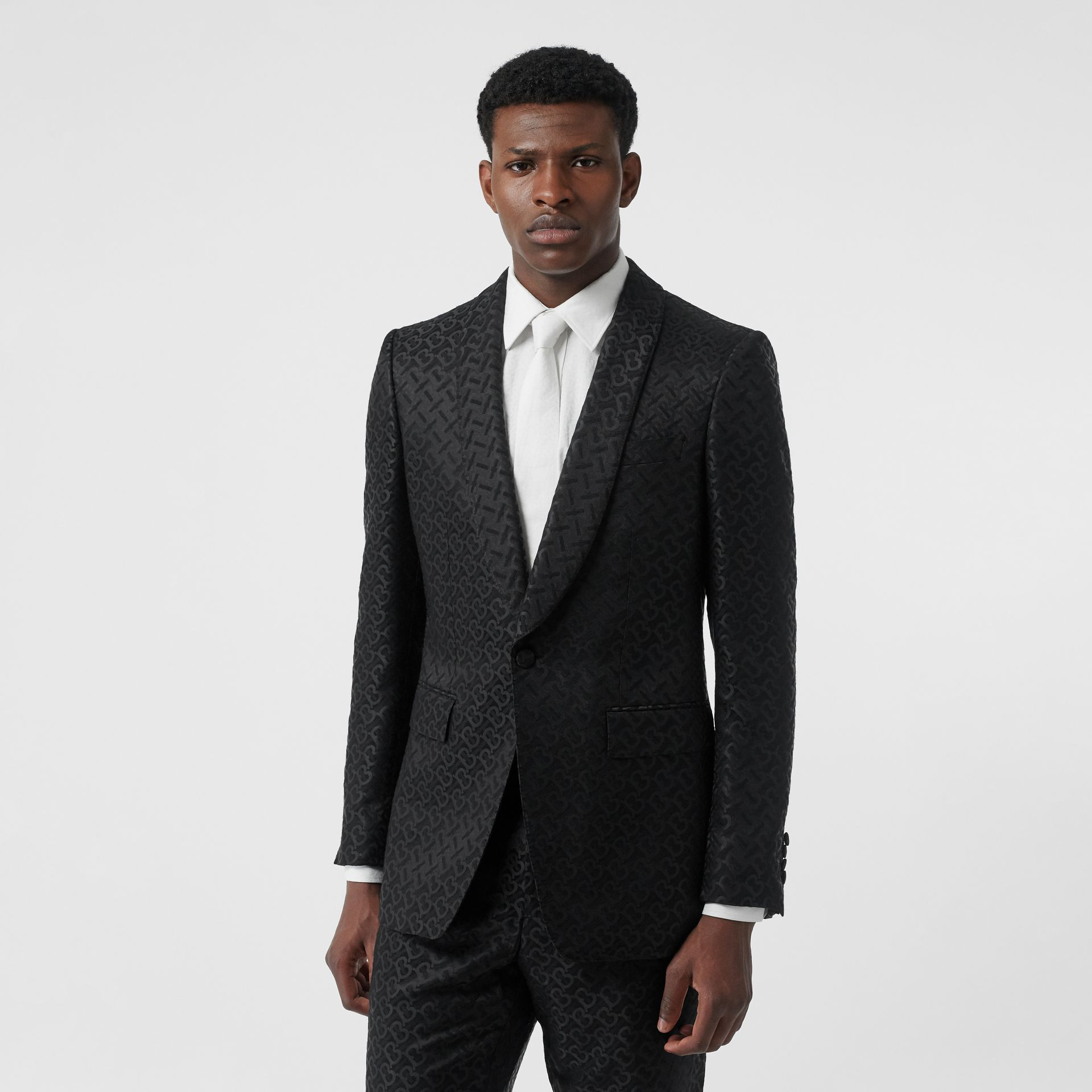 English Fit Monogram Wool Blend Jacquard Tuxedo in Black - Men | Burberry - gallery image 6
