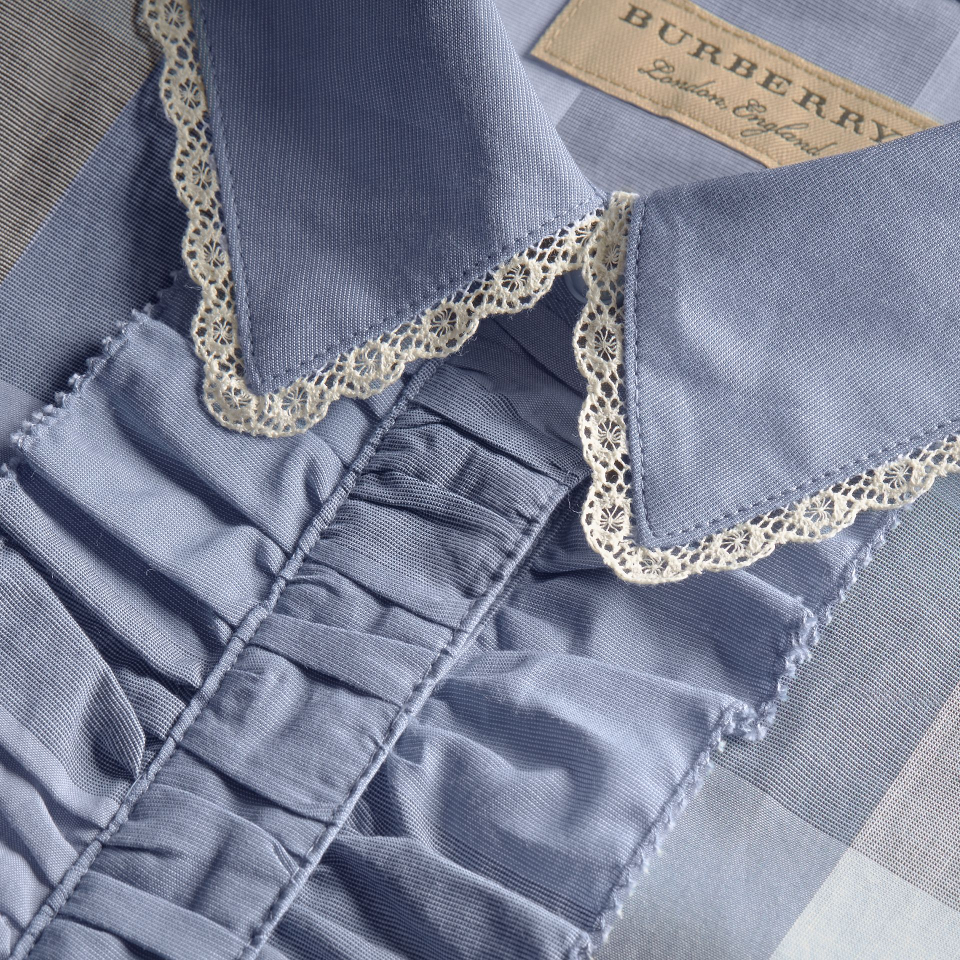 Ruffle Detail and Lace Trim Check Cotton Shirt Canvas Blue - gallery image 2