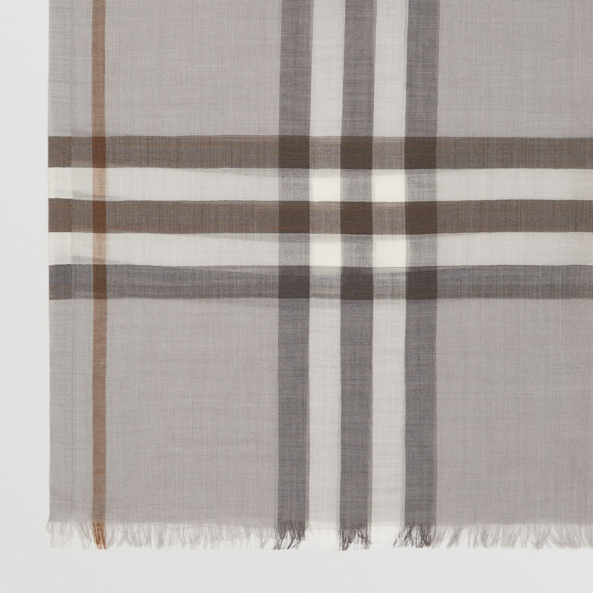 Lightweight Check Wool Silk Scarf in Grey | Burberry - gallery image 1