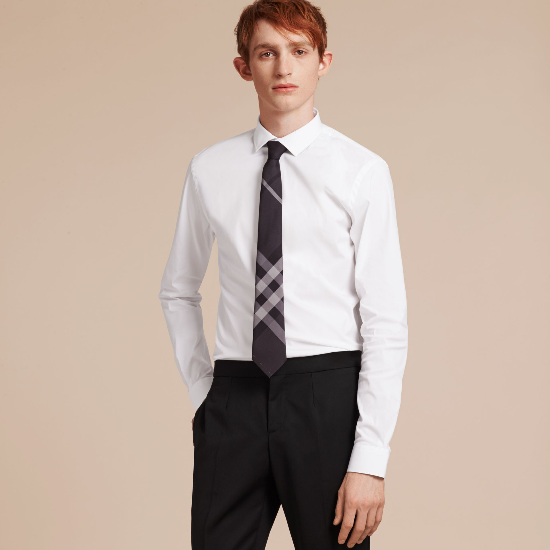 Slim Fit Stretch Cotton Poplin Shirt in White - Men | Burberry - gallery image 6