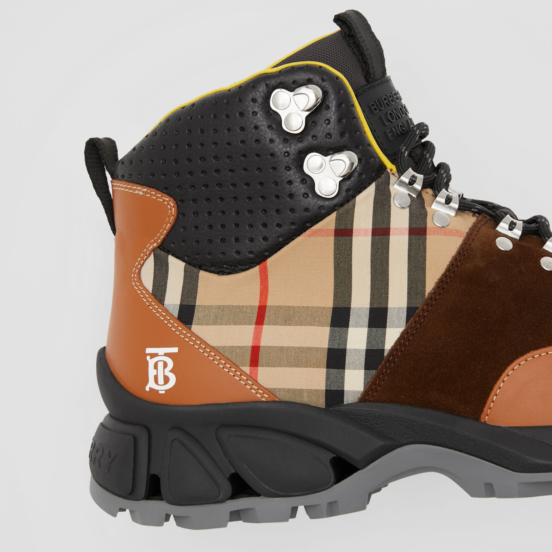 Leather, Vintage Check Cotton and Suede Tor Boots in Tan Mix - Men | Burberry - gallery image 1