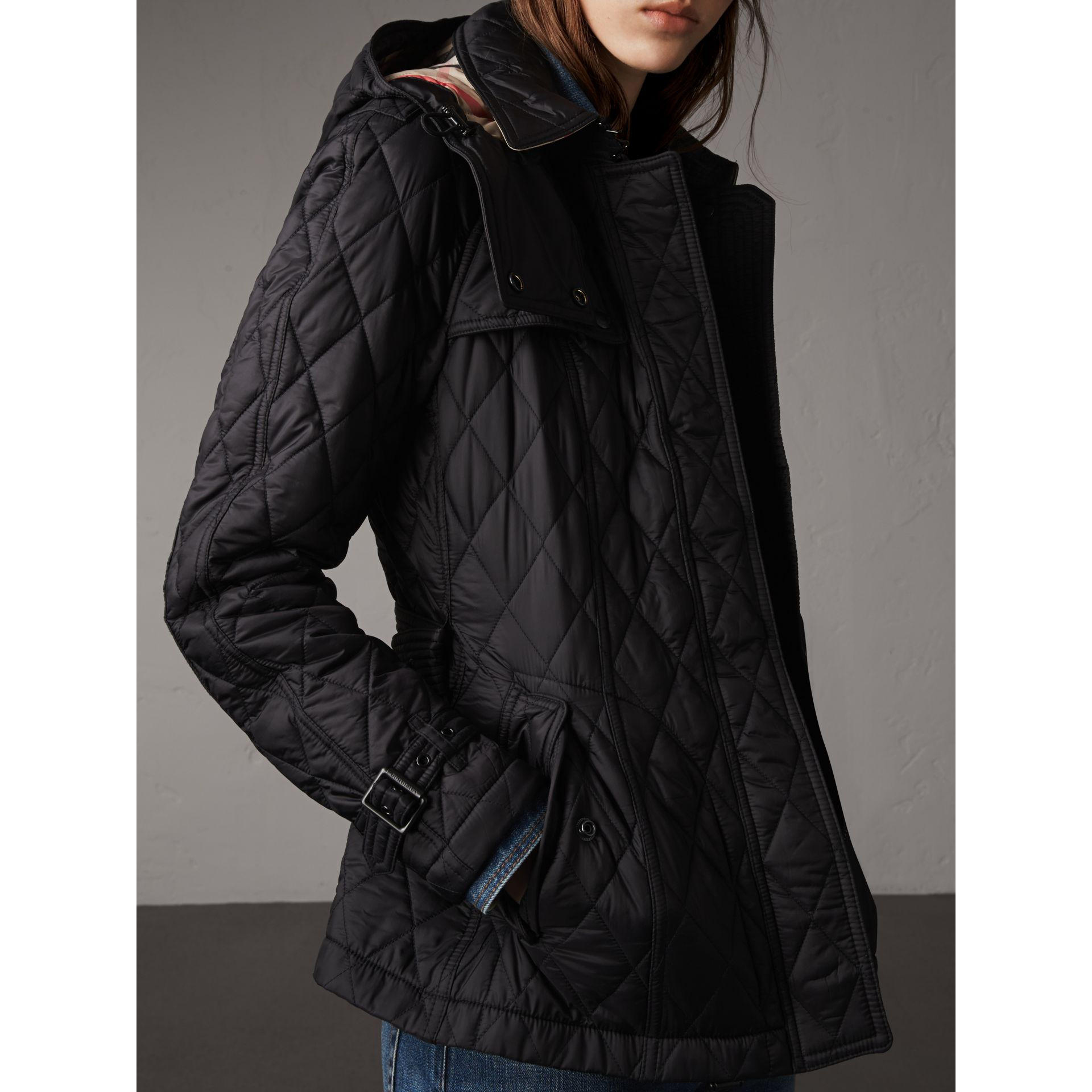 Quilted Trench Jacket with Detachable Hood in Black - Women | Burberry - gallery image 1