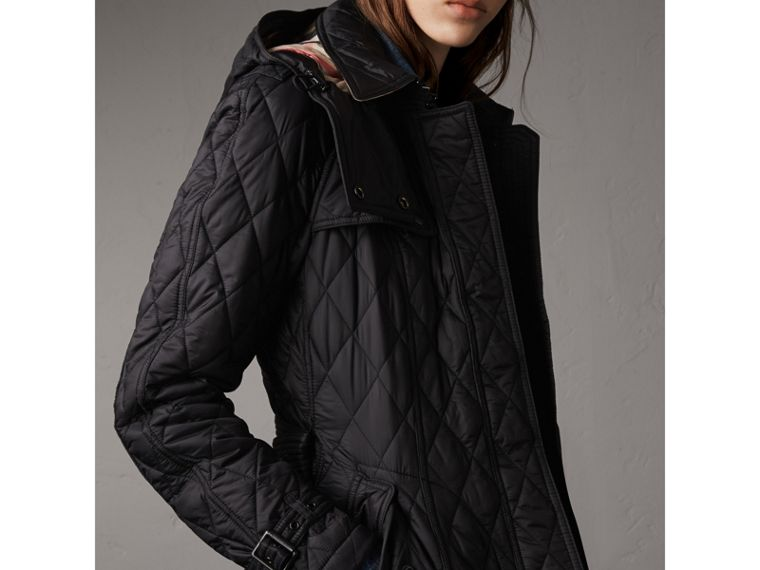 Quilted Trench Jacket with Detachable Hood in Black - Women | Burberry - cell image 1