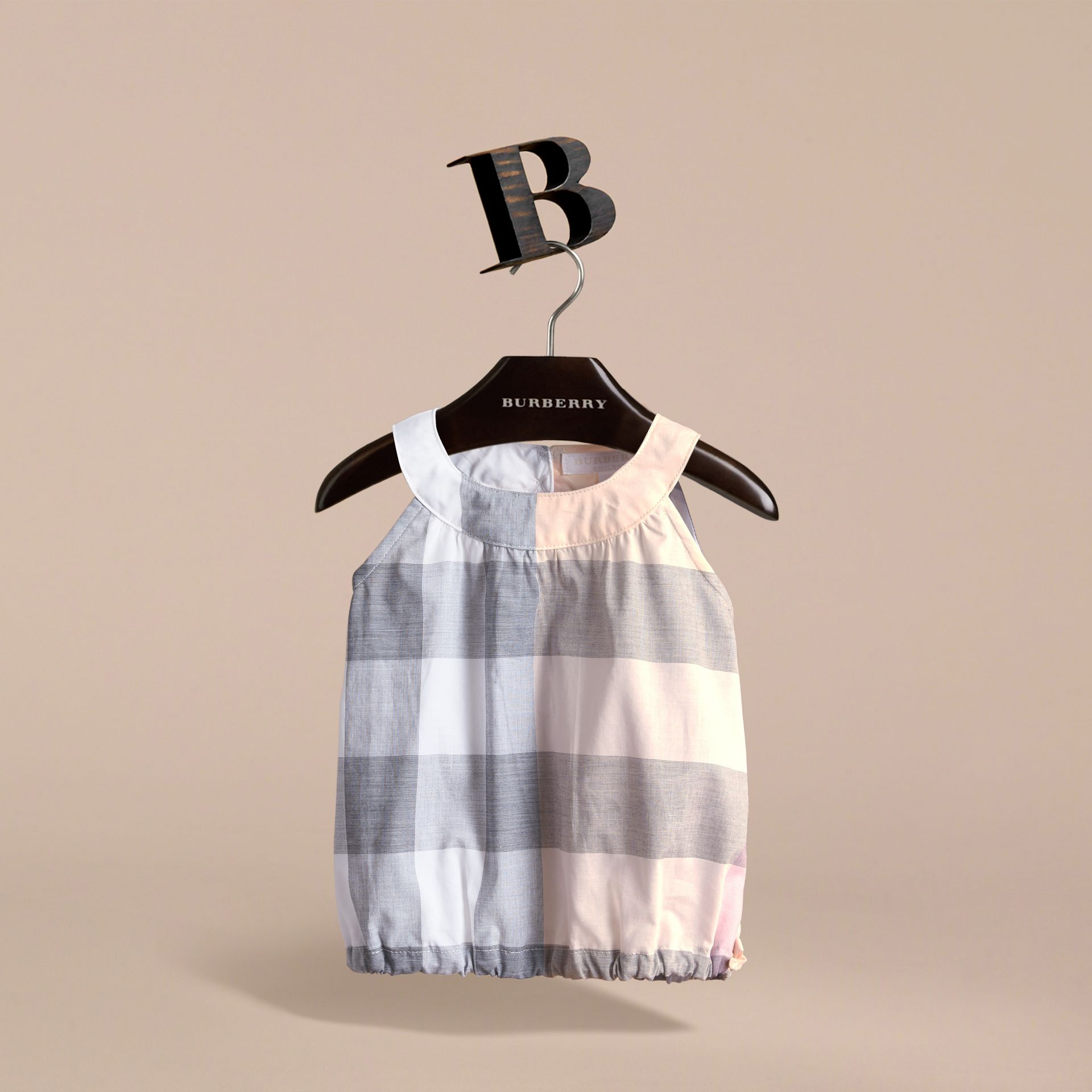 Gathered Check Cotton Top in Apricot | Burberry - gallery image 3