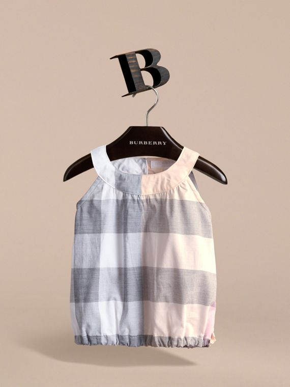 Gathered Check Cotton Top in Apricot | Burberry - cell image 2