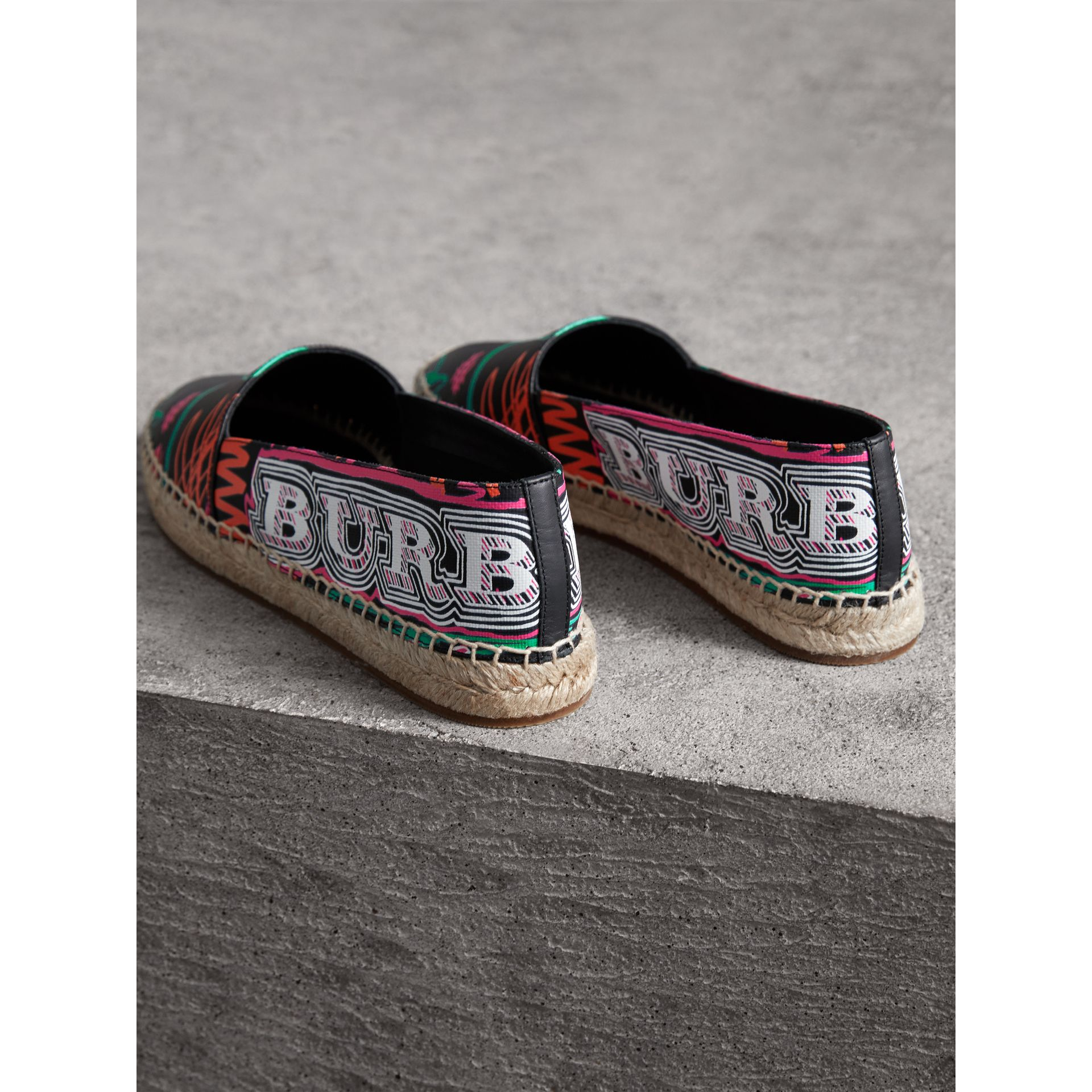 Doodle Print Coated Cotton Espadrilles in Black - Women | Burberry - gallery image 3