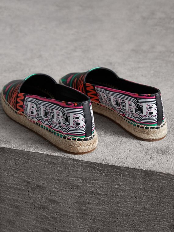 Doodle Print Coated Cotton Espadrilles in Black - Women | Burberry Australia - cell image 3