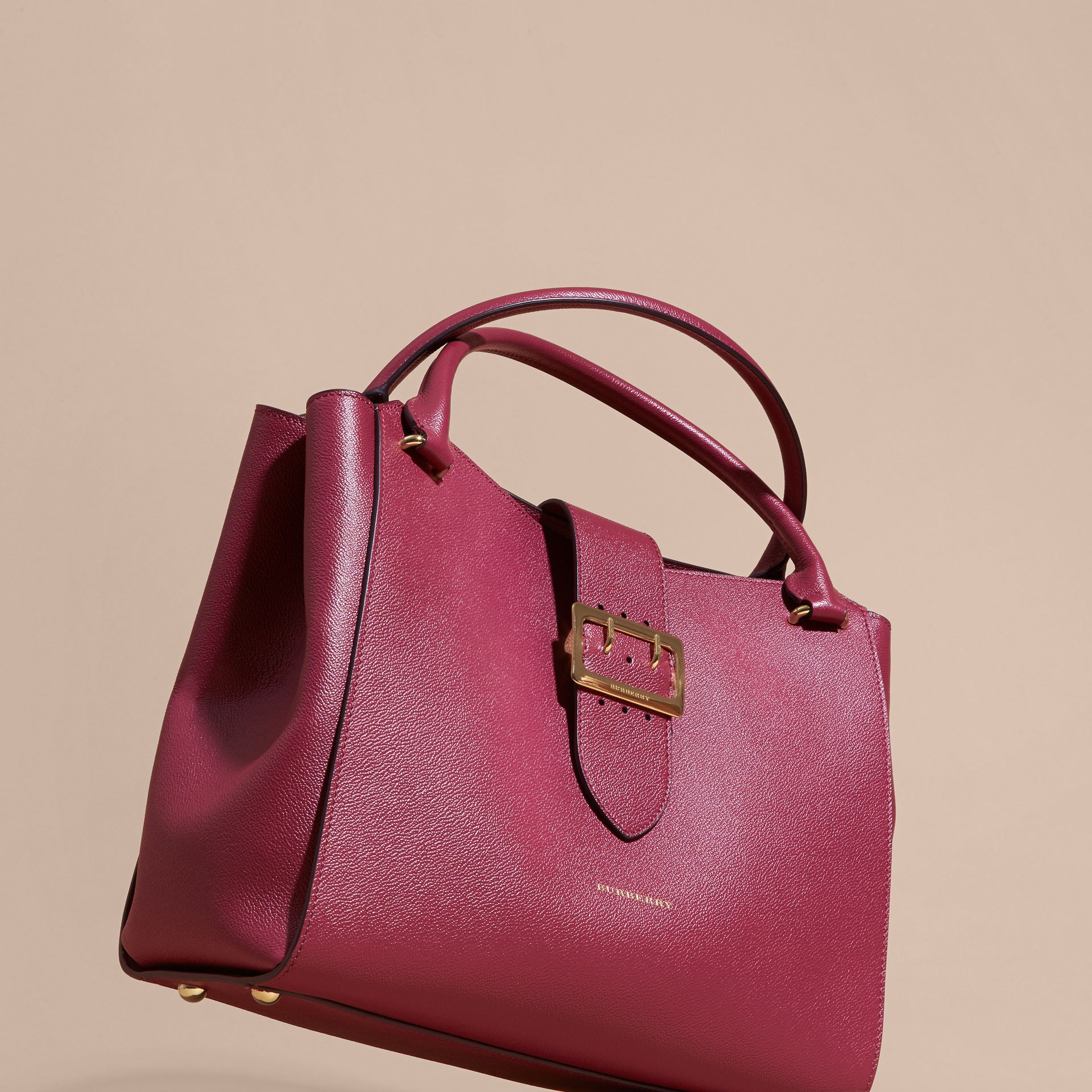 The Large Buckle Tote in Grainy Leather Dark Plum - gallery image 8