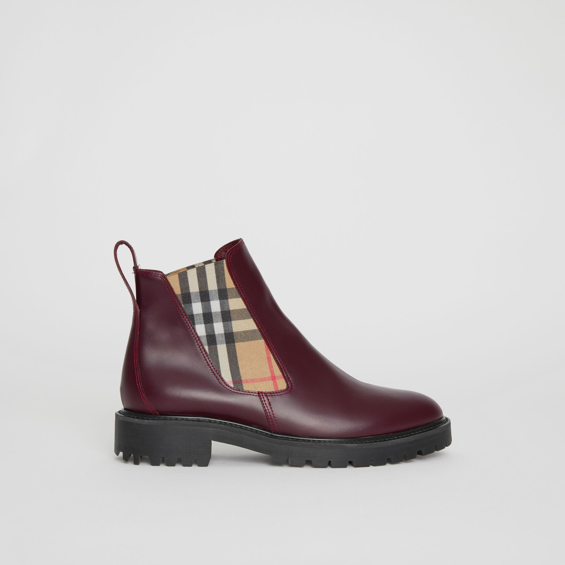 Vintage Check Detail Leather Chelsea Boots in Oxblood - Women | Burberry - gallery image 0