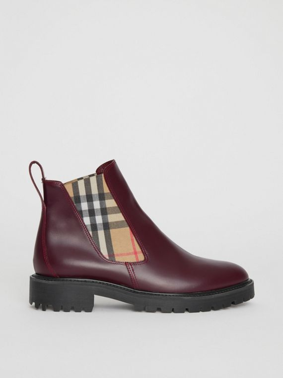 Vintage Check Detail Leather Chelsea Boots in Oxblood