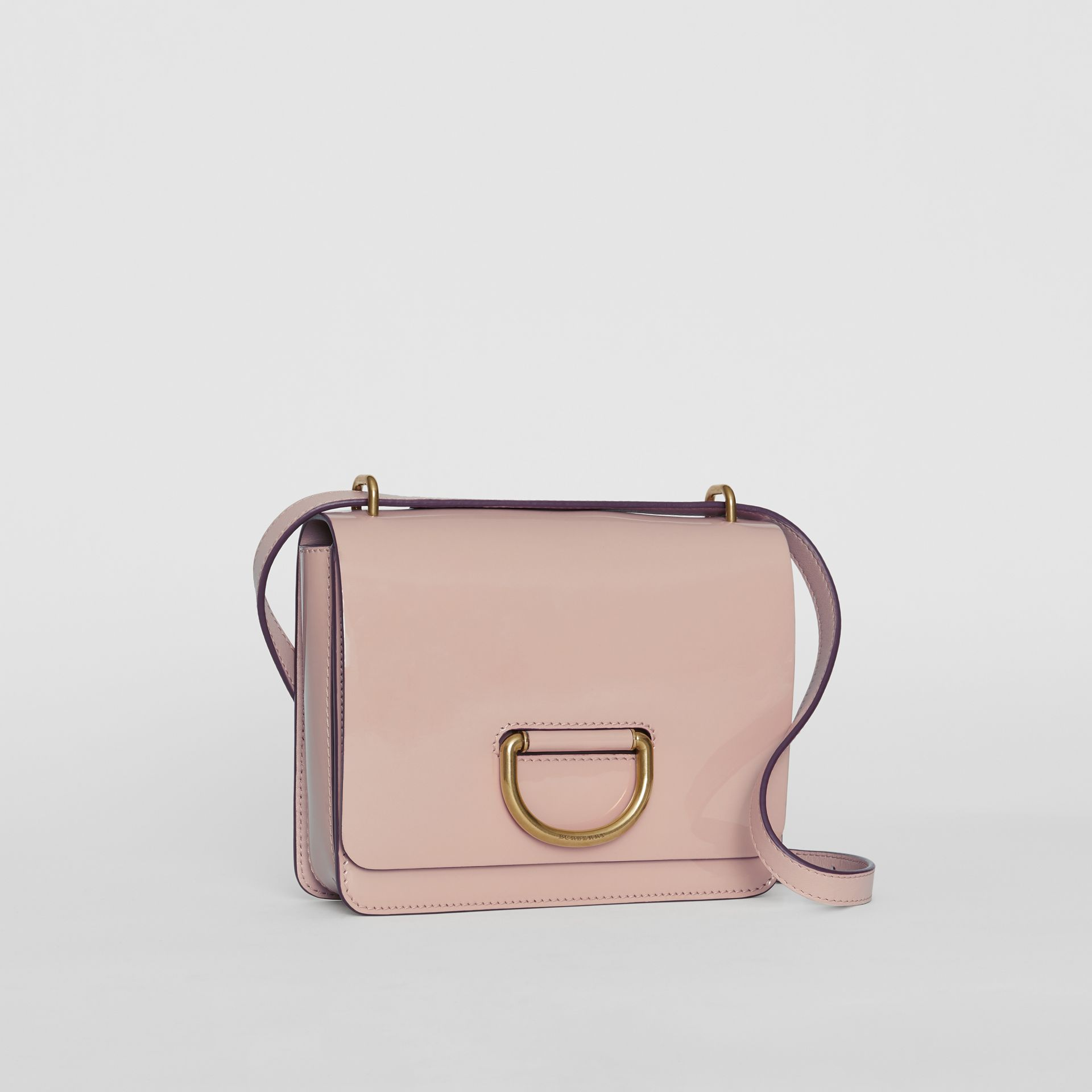 The Small Patent Leather D-ring Bag in Pale Fawn Pink - Women | Burberry United Kingdom - gallery image 4